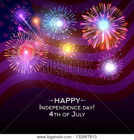 USA independence day vector poster with fireworks. Independence celebration and firework on independence day usa illustration