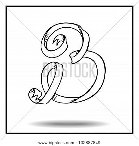 Ribbon alphabet. Ribbon letter. Ribbon B. Display ribbon font. Sketch ribbon latter B.
