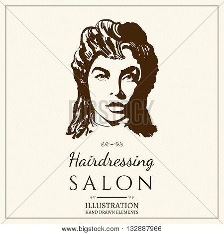 Hairdressing salon logo barbershop beautiful woman silhouette vector illustration