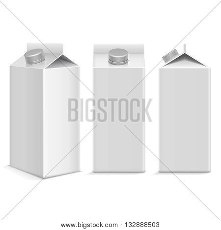 Milk and juice white carton package box in different points of view. Object pachage product milk, carton box package juice blank illustration vector template