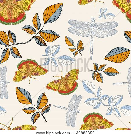 Seamless pattern with cute butterflies and dragonflies hand drawn vector illustration