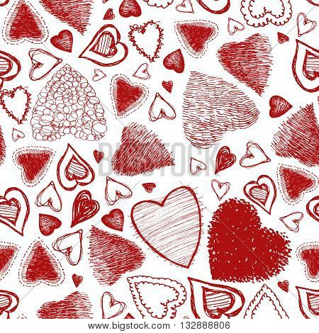 Valentine's Day seamless pattern of hand drawn red hearts, Vector illustration. Red ornate hatched elements on a white background. Isolated