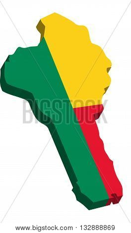A map of Benin 3D on white background