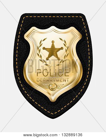 Police Badge. Realistic Vector Golden Police Badge Placed on Leather Background