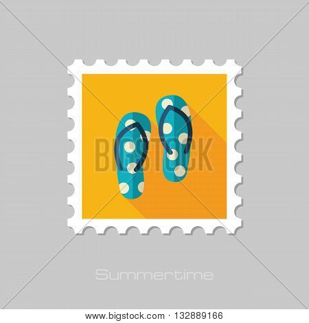 Flip Flops vector flat stamp with long shadow. Beach. Summer. Summertime. Vacation eps 10