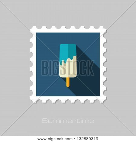 Ice Cream vector flat stamp with long shadow. Beach. Summer. Summertime. Vacation eps 10