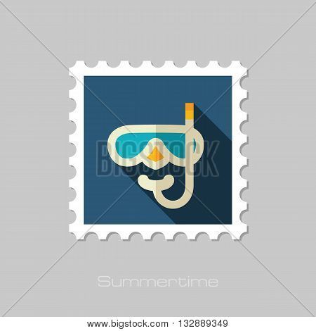 Diving Mask vector flat stamp with long shadow. Beach. Summer. Summertime. Vacation eps 10