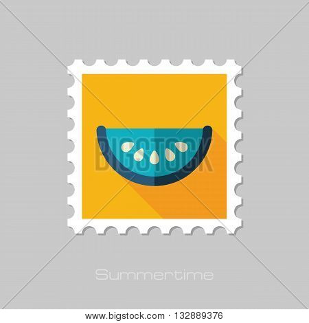 Watermelon Slice vector flat stamp with long shadow. Beach. Summer. Summertime. Vacation eps 10
