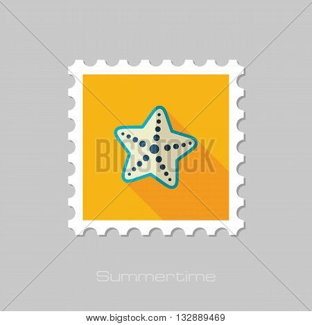 Starfish vector flat stamp with long shadow. Beach. Summer. Summertime. Vacation eps 10