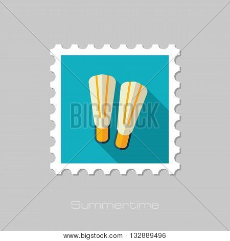 Flippers vector flat stamp with long shadow. Beach. Summer. Summertime. Vacation eps 10