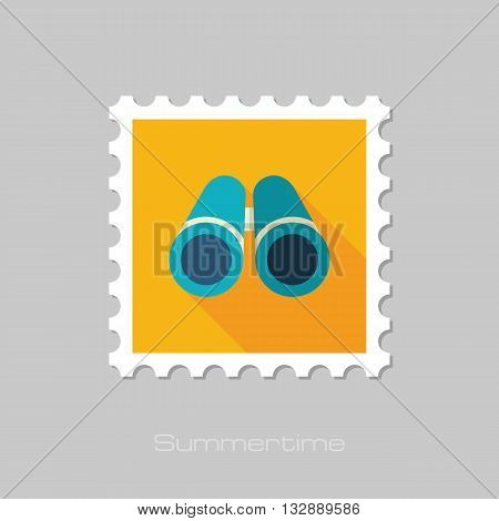 Binoculars vector flat stamp with long shadow. Beach. Summer. Marine. Summertime. Vacation eps 10