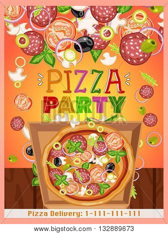 Pizza party template fresh ingredients for pizza