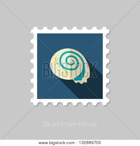 Seashell vector flat stamp with long shadow. Beach. Summer. Summertime. Vacation eps 10
