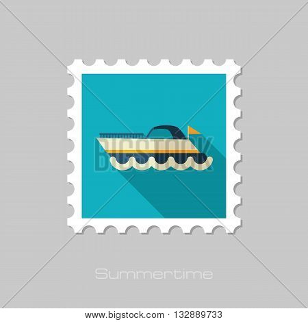 Ship Boat vector flat stamp with long shadow. Beach. Summer. Summertime. Vacation eps 10