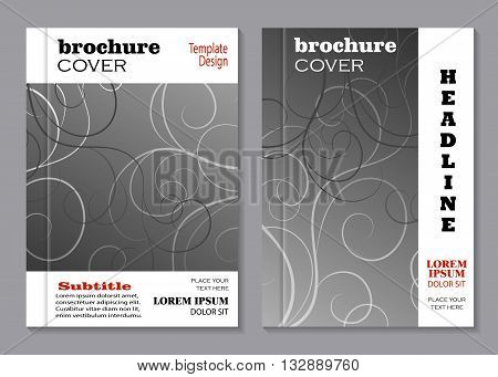 Modern vector templates for brochure cover in A4 size. Swirl pattern on gray background.