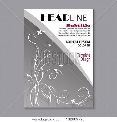 Modern vector template for brochure cover in A4 size. White floral pattern with shadow on gray background.