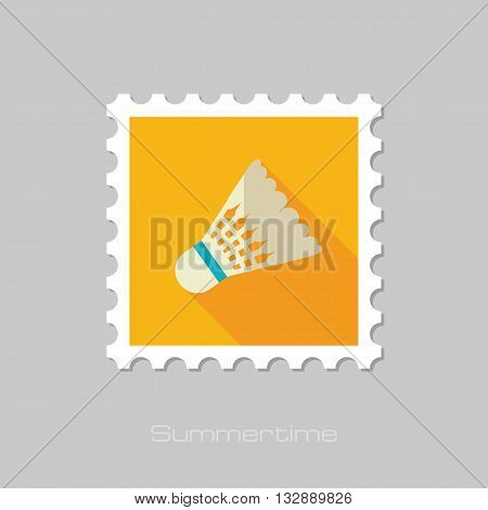 Shuttlecock for badminton sport vector flat stamp with long shadow. Beach. Summer. Summertime. Vacation eps 10