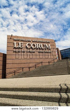 MONTPELLIER, FRANCE - JULY 13, 2015: View at Le Corum congress hall in Montpellier France. It was designed by Claude Vasconi and opened to the public in 1988.
