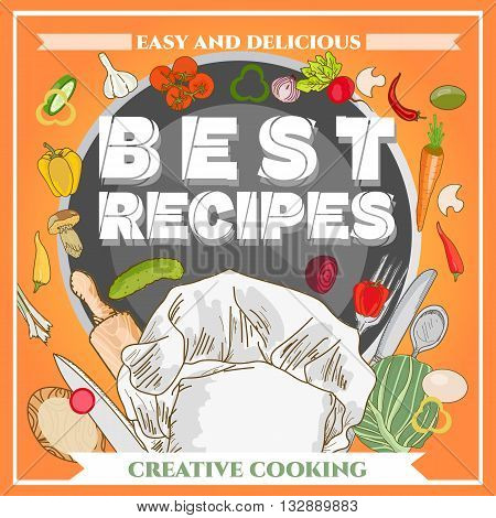 Best recipe poster template cookbook cookery book hand drawn vector illustration