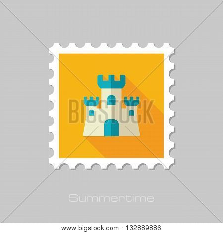 Sand Castle vector flat stamp with long shadow. Beach. Summer. Summertime. Vacation eps 10