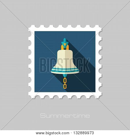 Bell marine vector flat stamp with long shadow. Beach. Summer. Marine. Summertime. Vacation eps 10