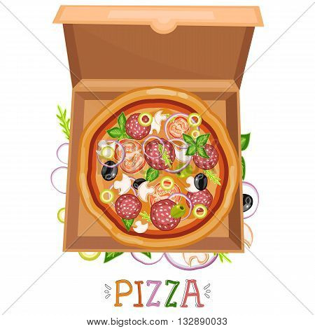 Pizza box top view. Pizza delivery isolated on white vector illustration