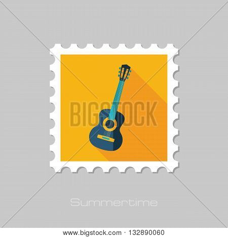 Guitar Beach vector flat stamp with long shadow. Beach. Summer. Summertime. Vacation eps 10