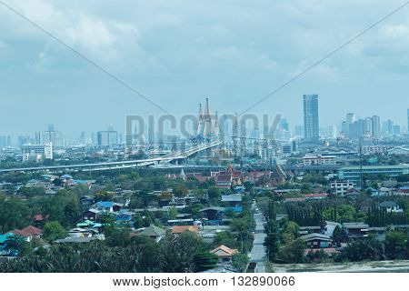 City landscape in a cloudy and overcast day.