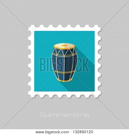 Drum vector flat stamp with long shadow. Beach. Summer. Summertime. Vacation eps 10