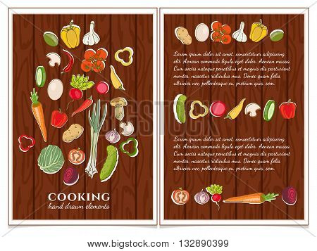 Cookbook cooking page template hand drawn elements vector