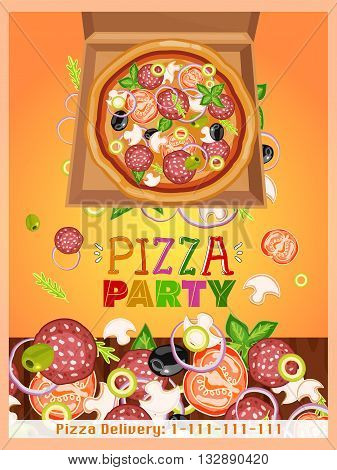 Pizza party template fresh ingredients for pizza design template hand drawn vector illustration
