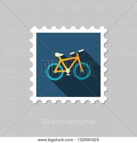 Bicycle vector flat stamp with long shadow. Beach. Summer. Summertime. Vacation eps 10