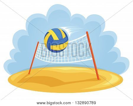 Vector illustartion of ball and volleyball net