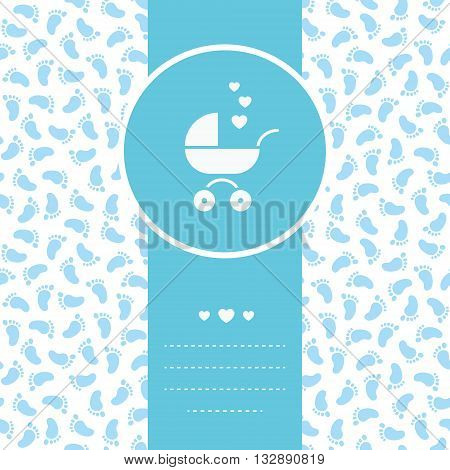 Vector blue card with baby buggy and seamless pattern with footprints on background