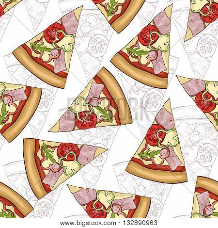 Seamless pattern sketch and color pizza with bacon. Vector illustration, EPS 10
