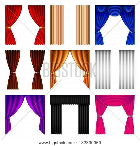 Window curtain icons detailed photo realistic vector set