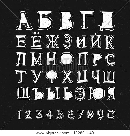 Grunge styled textured russian alphabet. Cyrillic letters on black background.