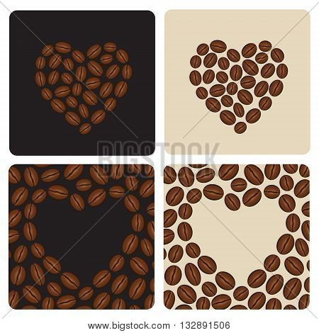 I love coffee beans. Heart symbol made of coffee beans.