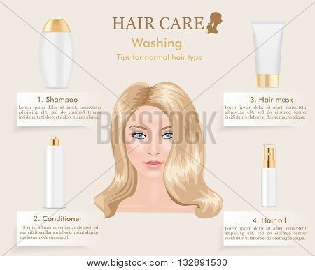 Hair care washing tips for normal hair type. Infographic. Blond woman portrait in center. Vector illustration.