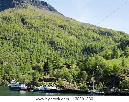 the aurlandsfjoerd and the village of flam