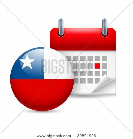 Calendar and round Chile flag icon. National holiday in Chile