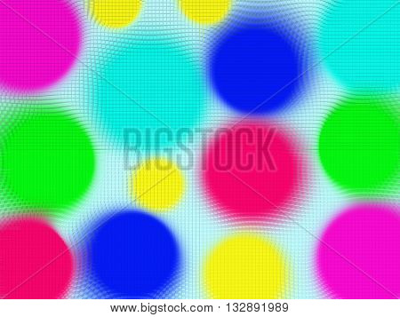 Abstract colorful background squeezing extruded multicolored bright geometric shapes circles
