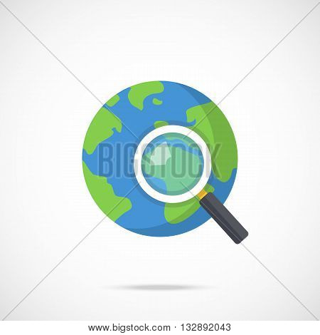 Vector planet Earth and magnifying glass icon. Flat magnifier and planet Earth. Modern flat design graphics concepts for web sites, web banners, printed materials, infographics. Vector icon