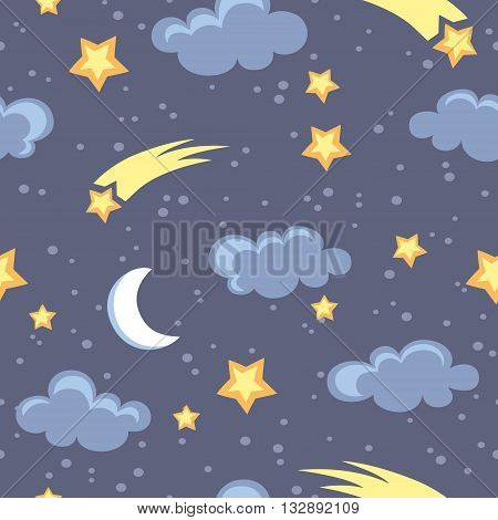 Night sky seamless pattern with moon stars and clouds in vector