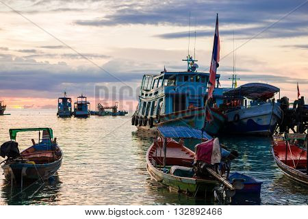 Fishing And Transport Boat On Koh Tao Beach Warm Light Sunset Time