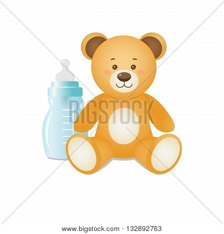 Funny teddy bear and feeding bottle.Design for prints of baby goodsbackgrounds.Isolated on white background.Vector illustration.