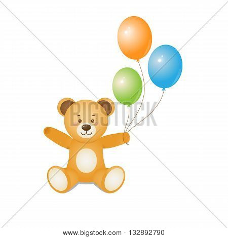 Funny teddy bear holding balloons in hands.Design for prints of baby goods happy bithday cards invitationbackgrounds.Isolated on white background.Vector illustration.