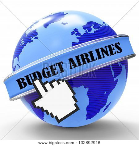Budget Airlines Indicates Cut Price And Aircraft 3D Rendering