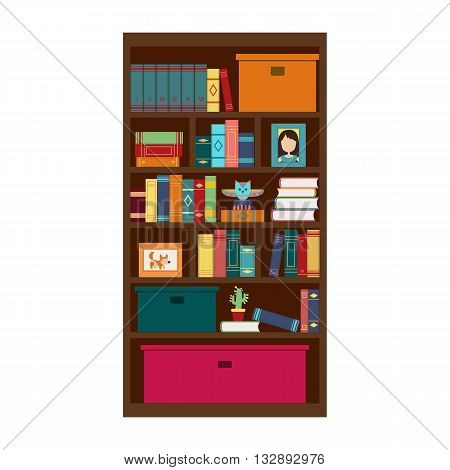 Illustration with colorful book on bookshelves in flat design style. Library and literature.