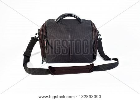 rectangular black bag for the camera on a white background. Isolated.